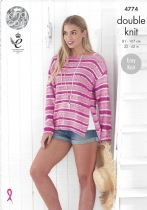King Cole Cottonsoft Crush DK Knitting Pattern - 4774 Ladies Sweaters